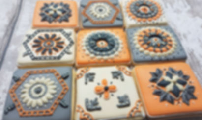 hand decorated tile biscuits