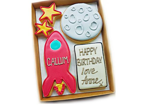rocket, moon and stars - personalised