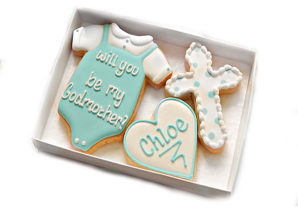 godparent cookies with cross - personalised