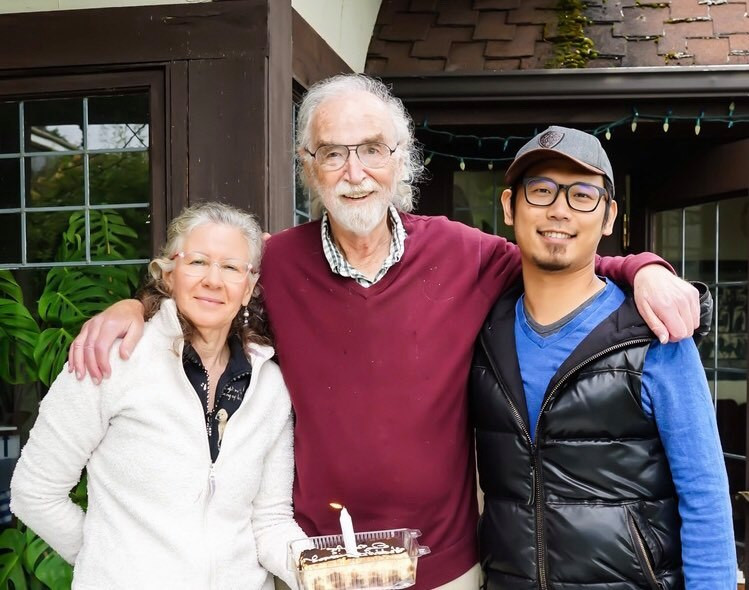 Gerald Pollack on his birthday with Laura and Kurt