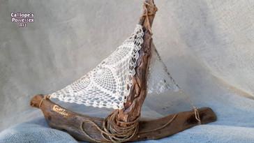 Ξύλινο Διακοσμητικό Καραβάκι με Powertex | Calliope's Powertex Art