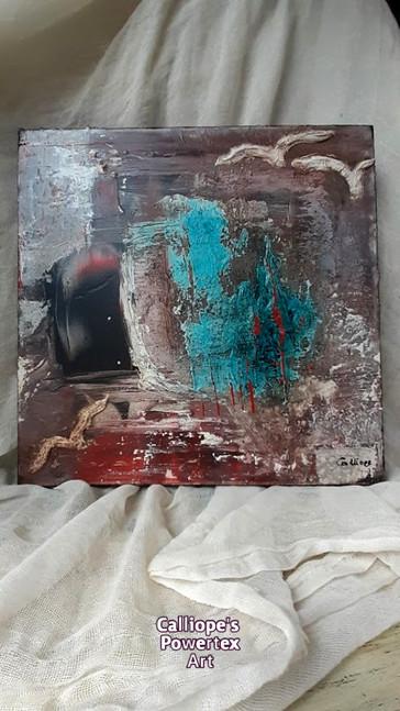 """""""Ελευθερία""""   Διακοσμητικός Καμβάς με Abstract Τεχνικές   Calliope's Powertex Art"""