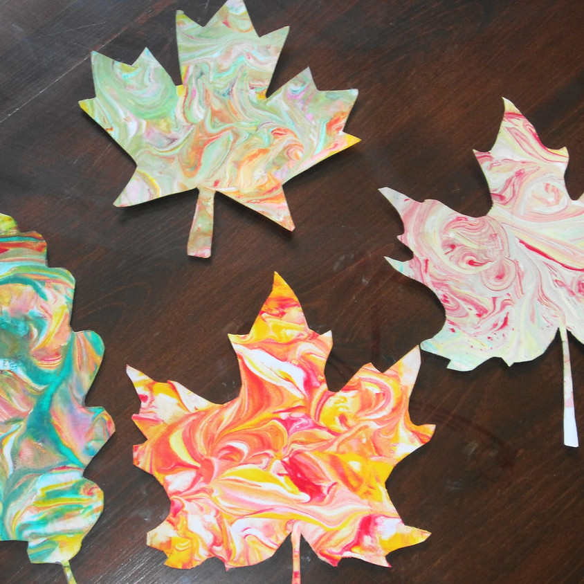 $5 Craft - Marbled Leaves