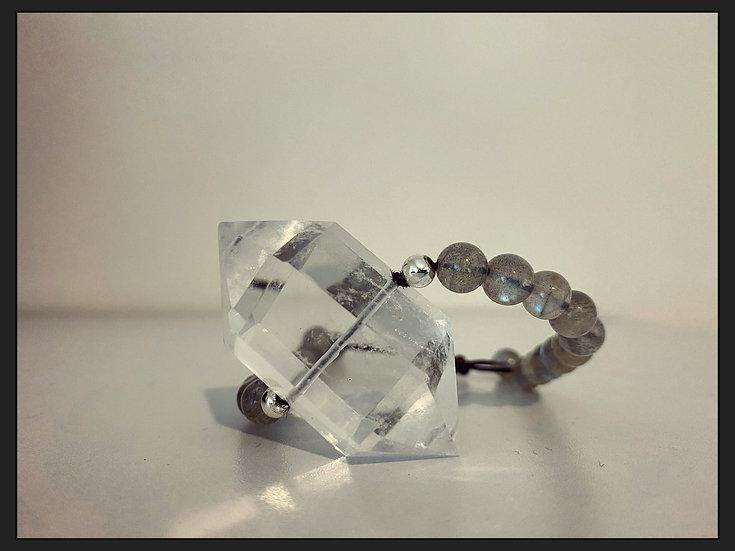 Large Double Pointed Clear Quartz & Labradorite Bracelet