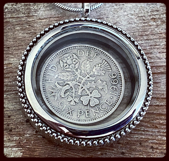 1966 English Six Pence in Glass Locket