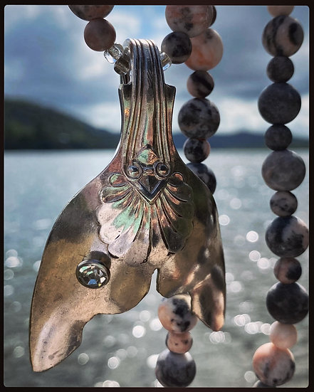 Mermaid Tail on Natural Pink & Grey Stone Necklace