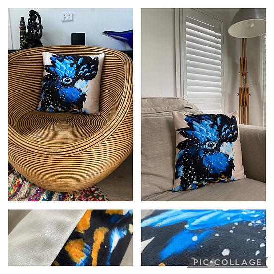Blue Cockatoo Cushion Cover