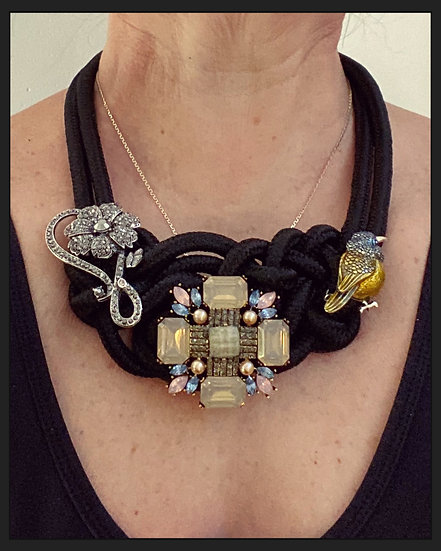 Vintage Brooches on Knotted Rope Necklace