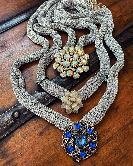 Vintage Brooch Collection on Uncyled Knit Lurex Necklace