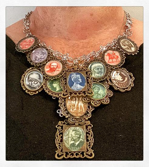 Vintage Postage Stamp Necklace