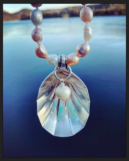 Vintage Shell Shaped Spoon on Pearl Necklace