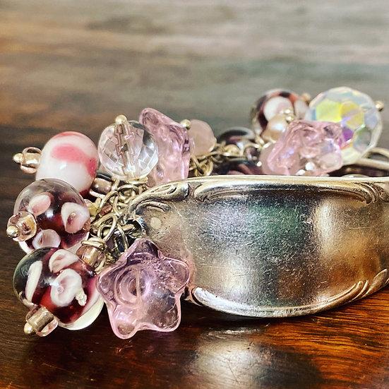 Vintage Spoon Handle & Lampwork Glass Bead Bracelet (Pink)