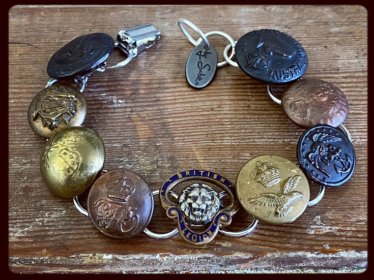Antique Military Button & Badge Bracelet