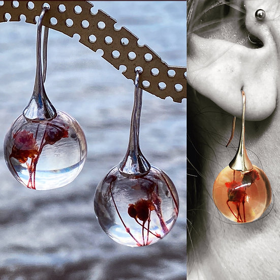 Resin Bauble Earrings 'Red  Flower'