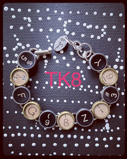 TK8 Vintage & Antique Typewriter Key Bracelet
