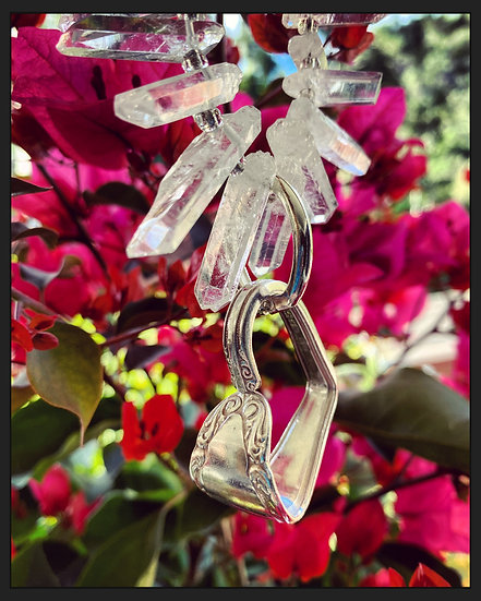 Upcycled Cutlery Heart on Clear Quartz Necklace