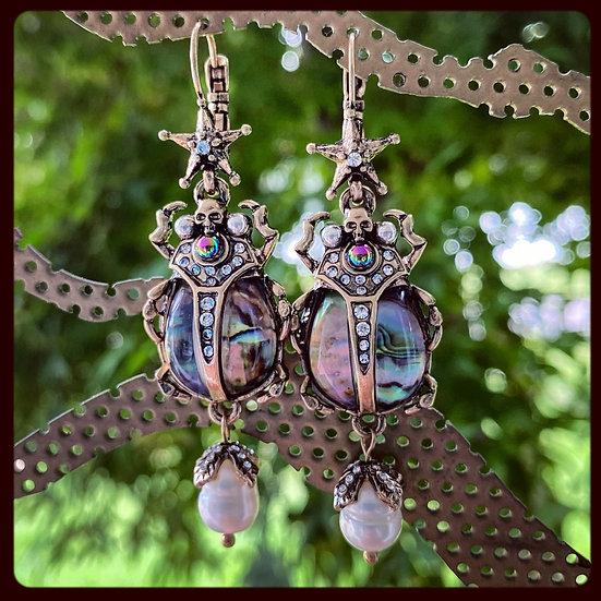 Pauashell Beetle Earrings