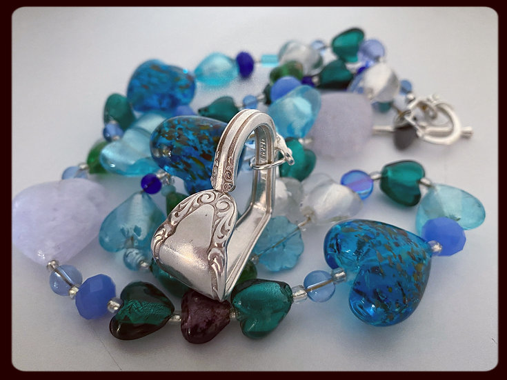 Vintage Spoon Handle Heart on Glass Heart Collection Necklace