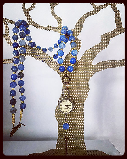 Vintage Style Watch on Blue Agate Necklace
