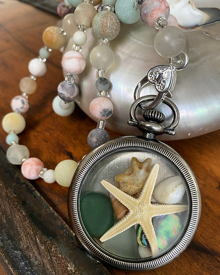 'Dreaming of the Sea' Vintage Watch Case Necklace