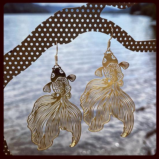 Laser Cut Gold Fish Earrings