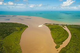 Aerial view of the Russell-Mulgrave Rivers mouth