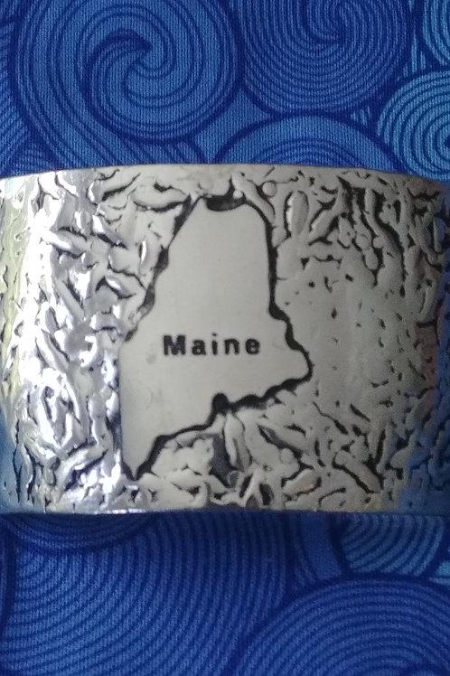 Silver Tone State of Maine Cuff Bracelet