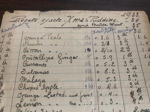 Mercredi 30 décembre - Xmas Pudding de Raymond Ferry recette 1936