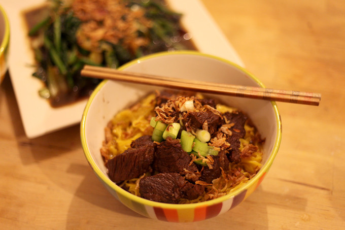Slow cooked Chinese Malaysian beef flank (Ngau Lam) with Noodles and Stir Fried Vegetables Recipe
