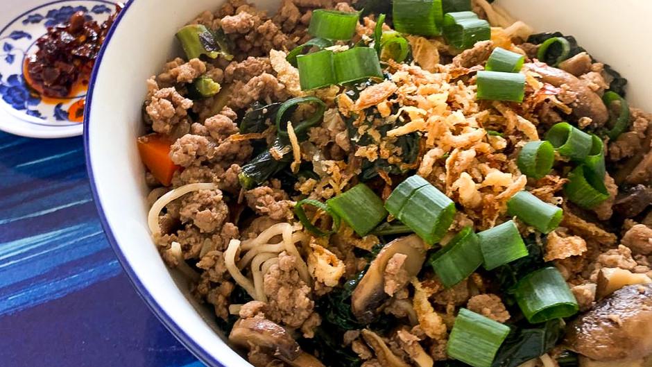 Kon Lau Mian (Braised Noodles)  with Beef & Mushrooms