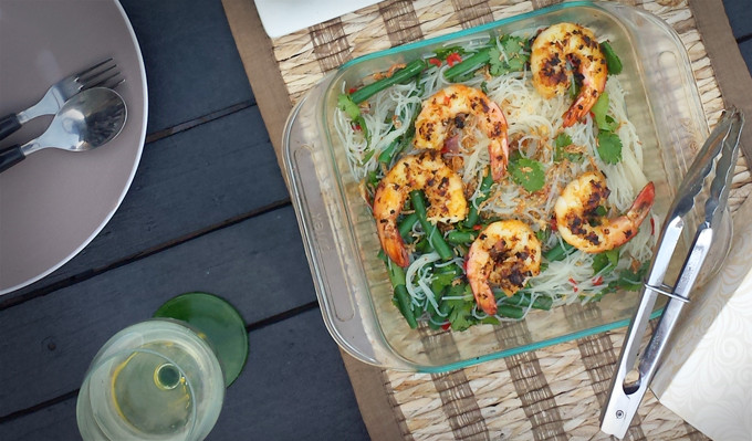 Thai Noodle Salad with Grilled Lemongrass and Ginger Prawns Recipe