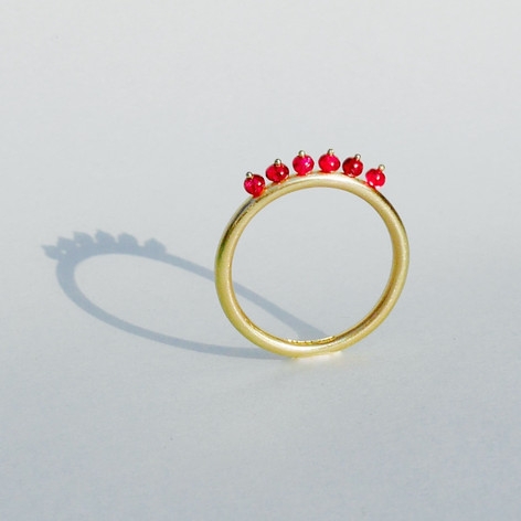 Red Spinel Halo Ring