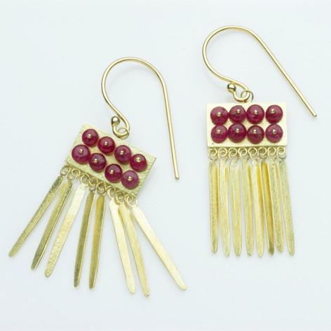 Red Grid Tassel Earrings