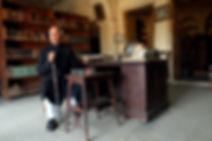Raja Mohammad Amir Mohammad Khan of Mahmudabad in the library of the Qila.