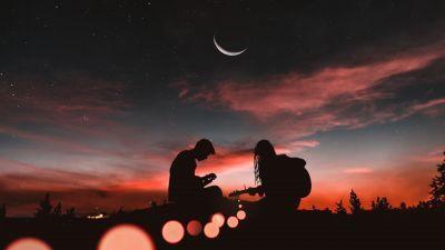 Couple, Playing guitar, Sunset, Half moon, Silhouette, Romantic, 5K