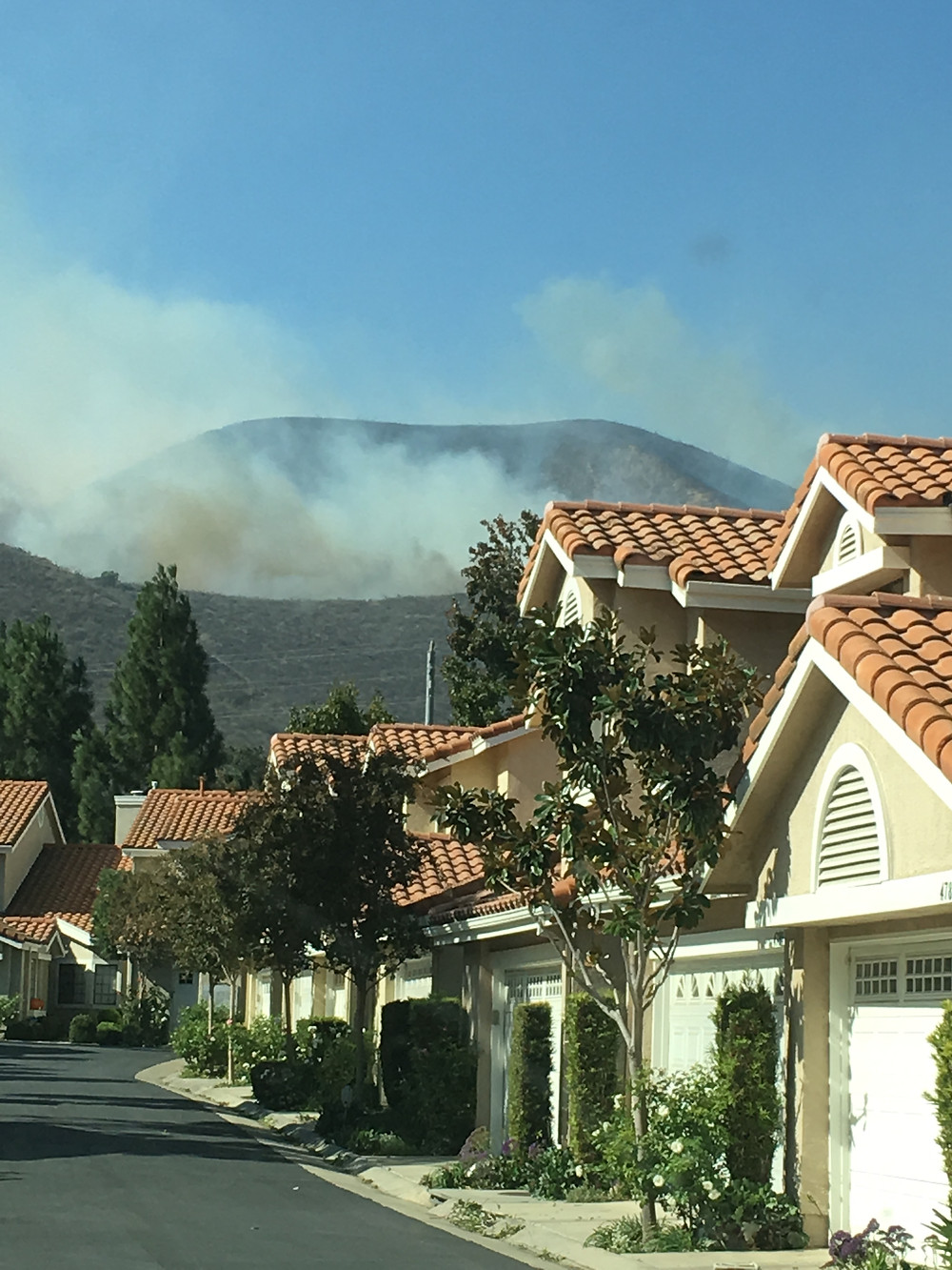 ​This was the view from in front of our house. Fire burned that whole mountain.