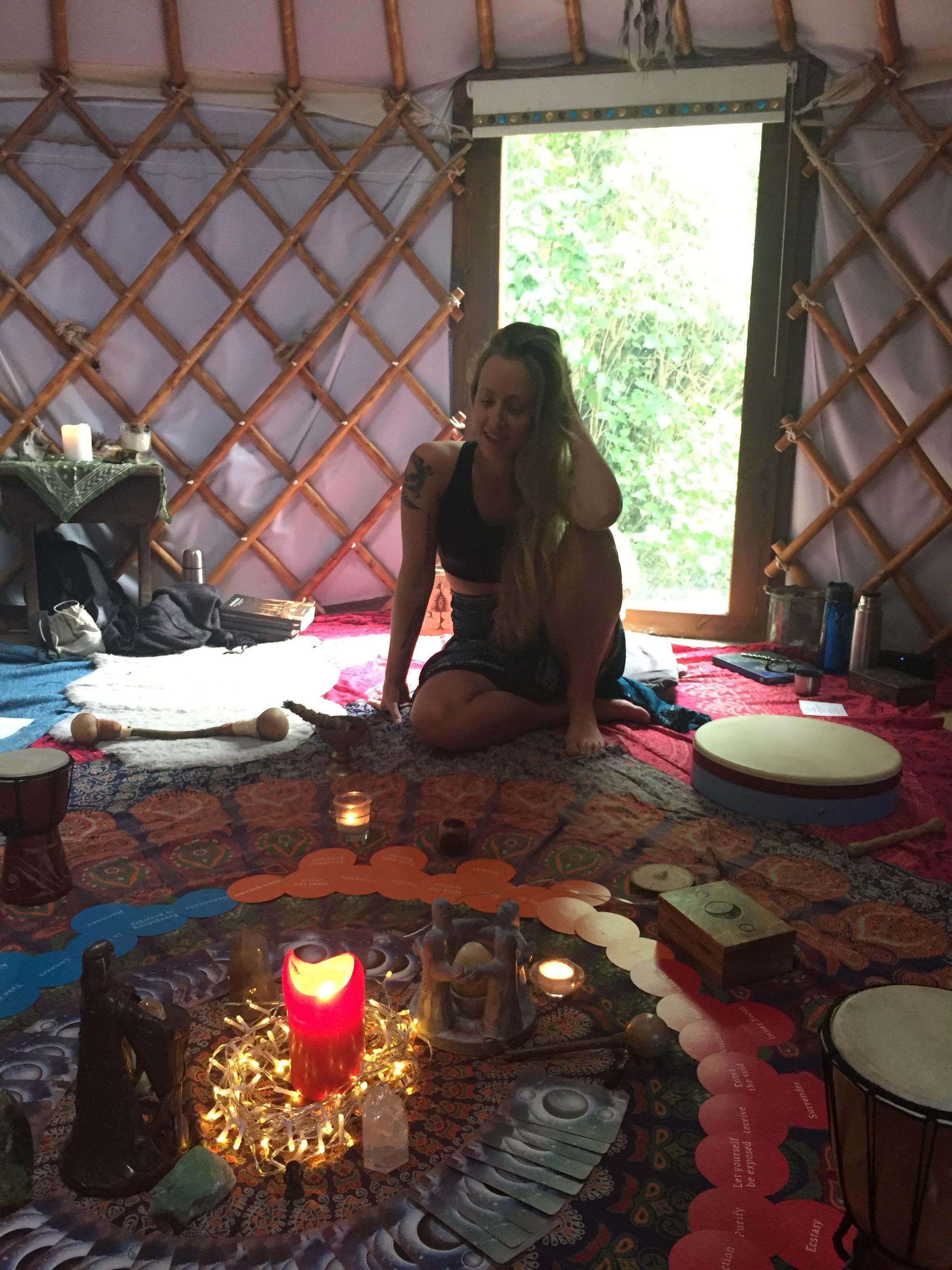 Carly in the yurt
