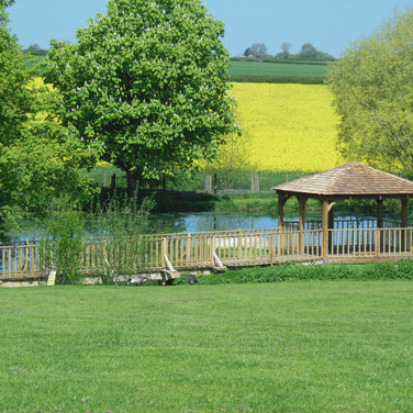 The pavilion, lake and fields