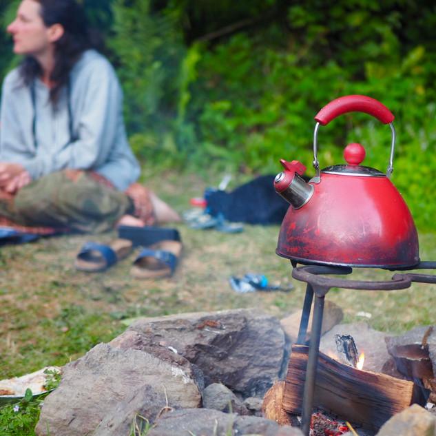 Brewing tea on the fire (c). Lisa Chapman