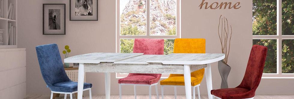 Oval Kristal Masa Sanpa Dört Renk Sandalye