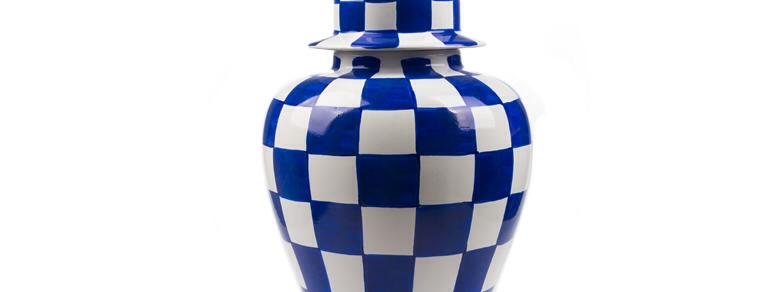 Küp Seti Damalı Modern Mavi 3'lü FKKP021-Mavi