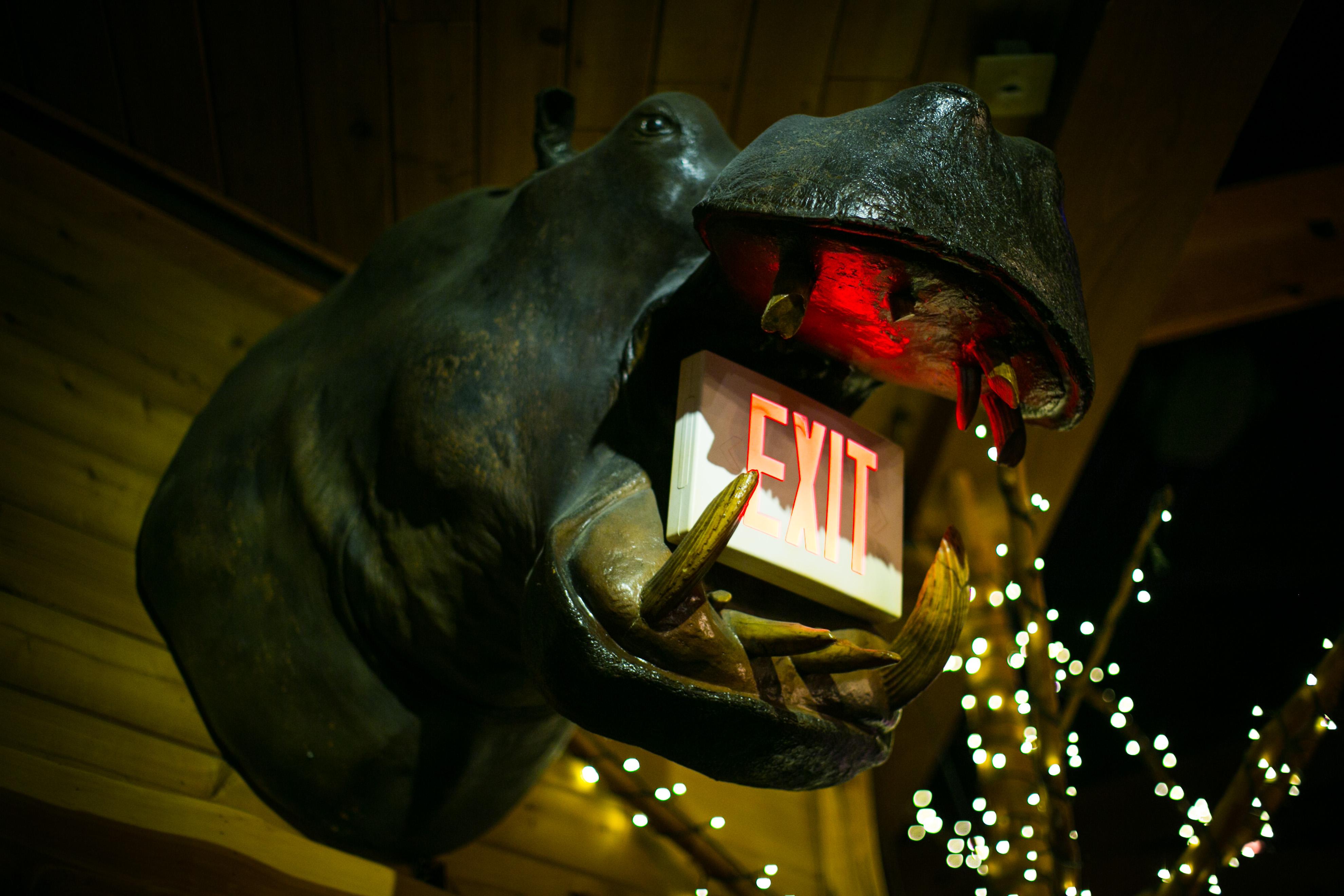 The Lodge Hippopotamus Exit Sign