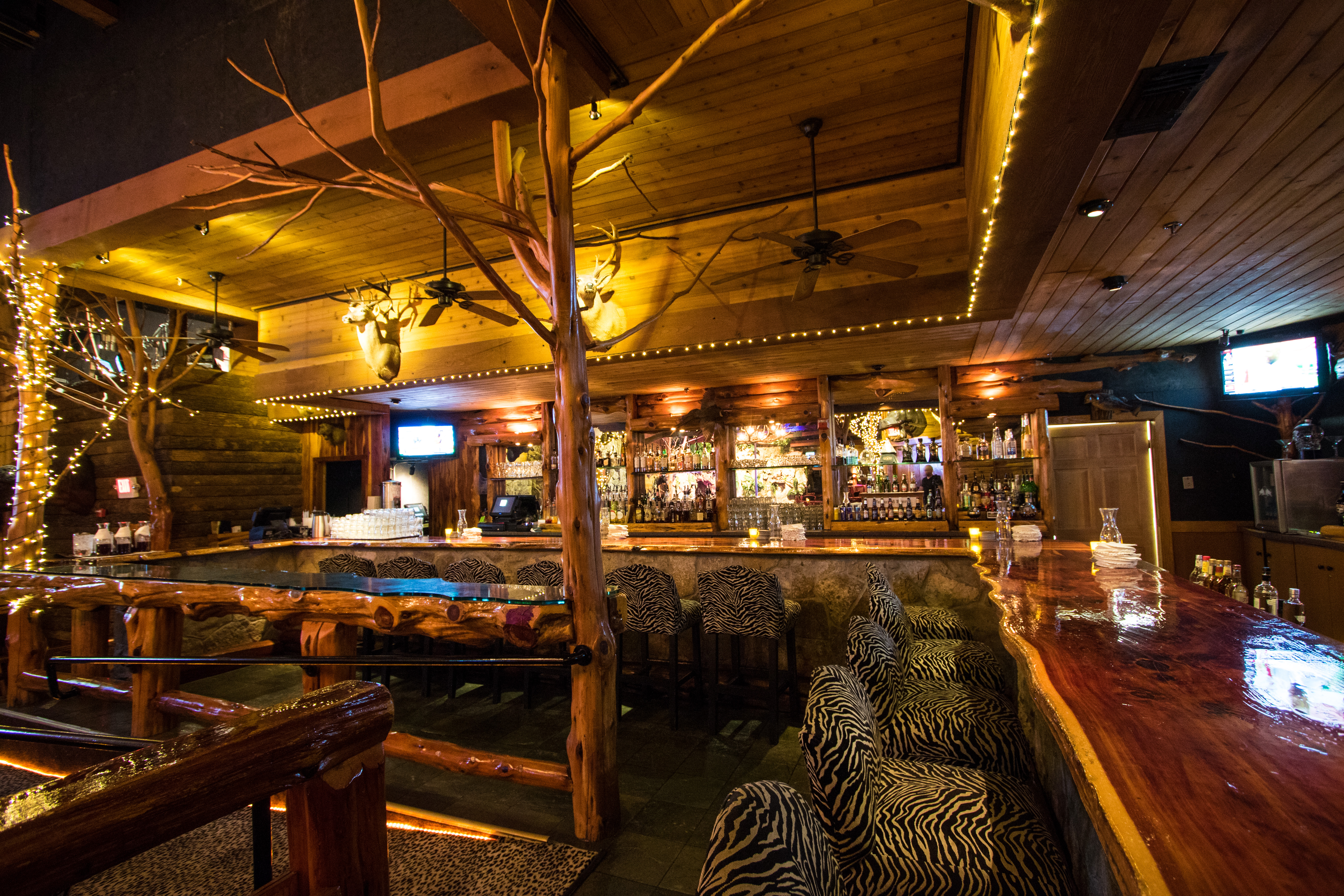 The Lodge Hand-Carved Cedar Main Bar