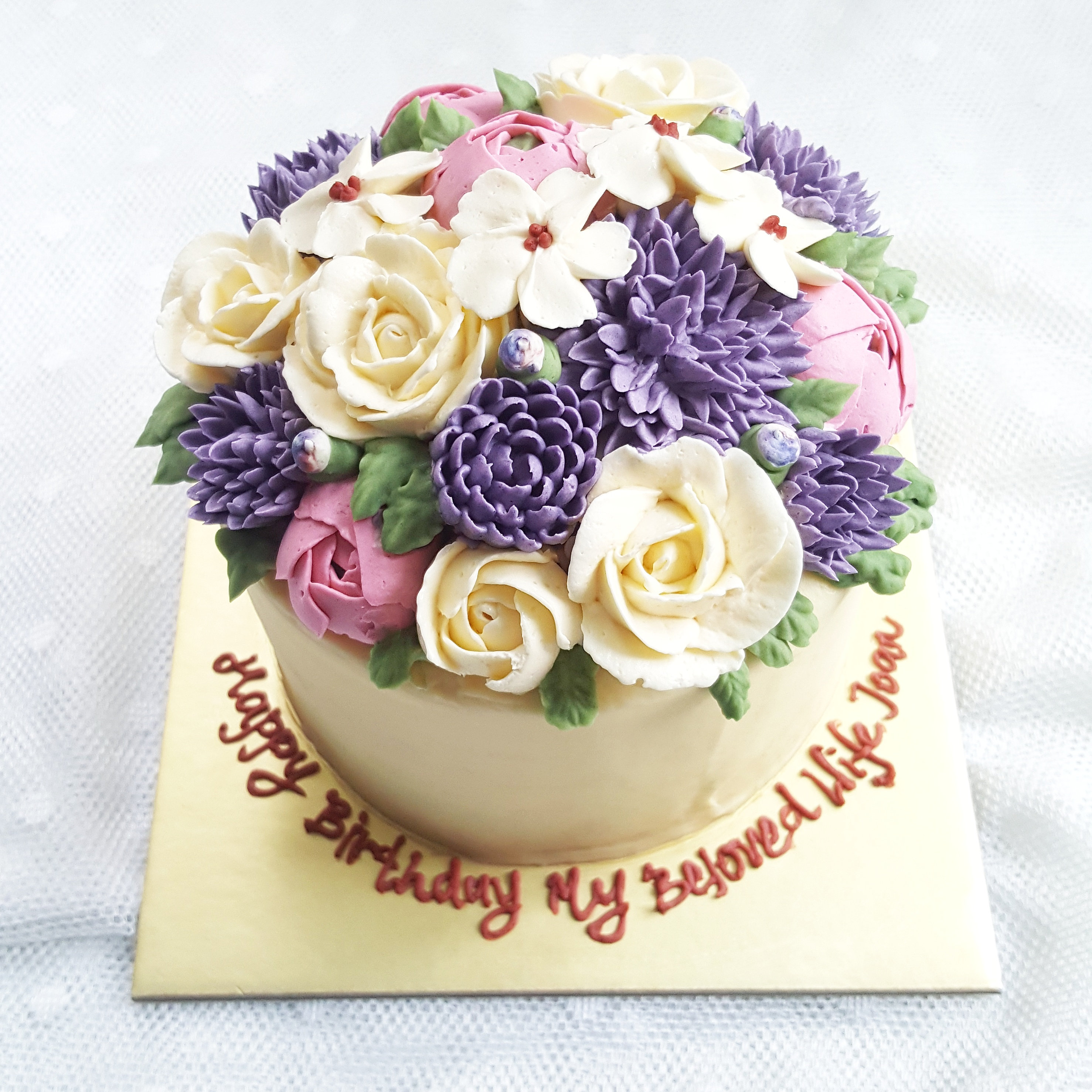 Singapore buttercream floral cake full blossom every flower is piped individually with lots of love a elegant cake for a lady who loves both cakes and flowers like nanatang open for customisation of dhlflorist Images