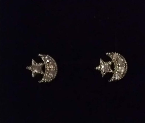 Crystal Star & Crescent Post Earrings