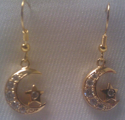 Gold tone Star & Crescent Earring
