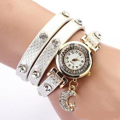 Crystal Moon & Star Triple-Band Quartz Watch