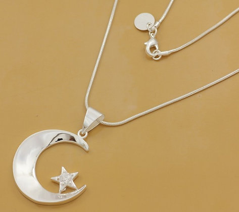 Silver Star & Crescent Necklace
