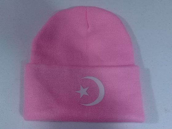 Light Pink Moon & Star Winter Hat
