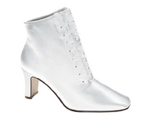 White Satin Lace Boots